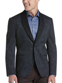 JOE Joseph Abboud Brown Paisley Slim Fit Knit Sport Coat