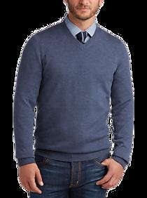 Mens Sweaters - Joseph Abboud Slate V-Neck Merino Wool Sweater - Men's Wearhouse