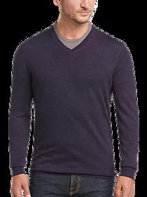 Joseph Abboud Purple Modern Fit V-Neck Merino Wool Sweater