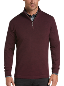 Joseph Abboud Wine 1/4 Zip Mock Neck Wool Sweater