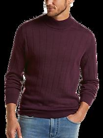 Mens Home - Joseph Abboud Heathered Wine 37.5® Modern Fit Mock Neck Sweater - Men's Wearhouse