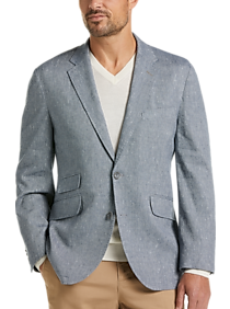 Mens Casual Coats, Sport Coats - Joseph Abboud Blue Textured Modern Fit Casual Coat - Men's Wearhouse