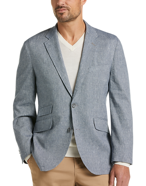 Joseph Abboud Blue Textured Modern Fit Casual Coat