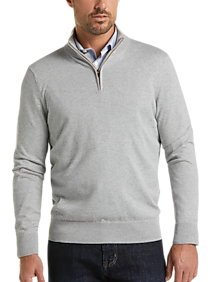 Joseph Abboud Gray Modern Fit 1/4 Zip Sweater