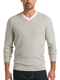 Mens Sweaters - Joseph Abboud StayCool Gray Modern Fit V-Neck Sweater - Men's Wearhouse