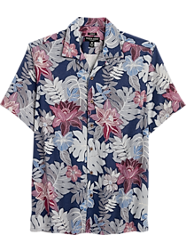 Mens Camp Shirts, Casual Shirts - Pronto Uomo Navy Floral and Leaf Classic Fit Short Sleeve Sport Shirt - Men's Wearhouse