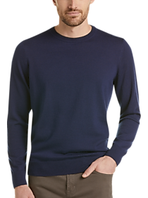 Mens Crew Neck, Sweaters - Awearness Kenneth Cole AWEAR-TECH Navy Modern Fit Crewneck Sweater - Men's Wearhouse