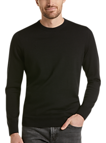 Mens Crew Neck, Sweaters - Awearness Kenneth Cole AWEAR-TECH Black Modern Fit Crewneck Sweater - Men's Wearhouse