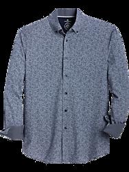 Construct Blue Floral Scroll Slim Fit Sport Shirt
