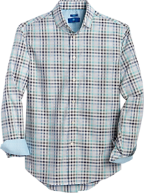 Mens Egara, Shirts - Egara Turquoise Check Slim Fit Sport Shirt - Men's Wearhouse