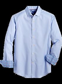 Mens Shirts Starting at 3 For $69, Shirts - Egara Blue and Lavender Dot Modern Fit Sport Shirt - Men's Wearhouse