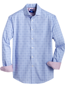 Mens Egara, Shirts - Egara Blue Grid Modern Fit Sport Shirt - Men's Wearhouse