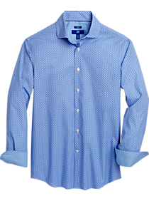 Mens Egara, Shirts - Egara Blue Swirl Print Slim Fit Sport Shirt - Men's Wearhouse