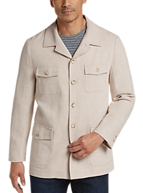 60s 70s Men's Jackets & Sweaters Joseph Abboud Tan Linen  Cotton Modern Fit Casual Coat $119.99 AT vintagedancer.com