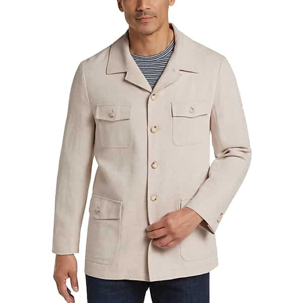 70s Jackets, Furs, Vests, Ponchos Joseph Abboud Mens Tan Linen  Cotton Modern Fit Casual Coat - Size Medium $119.99 AT vintagedancer.com