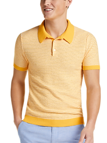 Mens Vintage Shirts – Casual, Dress, T-shirts, Polos Paisley  Gray Modern Fit Short Sleeve Polo Yellow Stripe $34.99 AT vintagedancer.com
