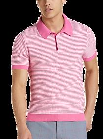 1960s Mens Shirts | 60s Mod Shirts, Hippie Shirts Paisley  Gray Modern Fit Short Sleeve Polo Pink Stripe $34.99 AT vintagedancer.com