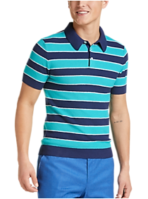 Mens Polo Shirts & Tees, Shirts - Paisley & Gray Rugby Stripe Modern Fit Short Sleeve Polo, Navy and Teal - Men's Wearhouse