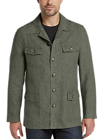 60s 70s Men's Jackets & Sweaters Joseph Abboud Olive Modern Fit Linen Casual Coat $119.99 AT vintagedancer.com