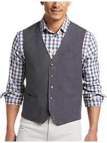 Mens Vests, Suits - Joseph Abboud Navy Linen Modern Fit Vest - Men's Wearhouse