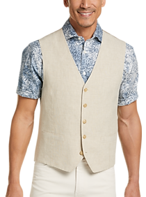 Mens Vests, Suits - Joseph Abboud Tan Linen Modern Fit Vest - Men's Wearhouse