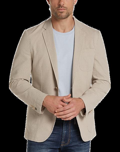 JOE Joseph Abboud Men's Seersucker Slim Fit Casual Coat