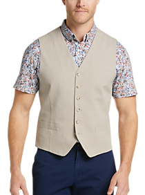 Mens Vests, Suits - JOE Joseph Abboud Tan Slim Fit Seersucker Vest - Men's Wearhouse