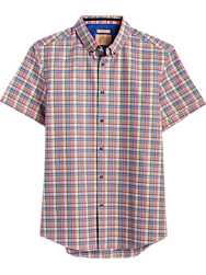 JOE Joseph Abboud Multicolor Plaid Short Sleeve Slim