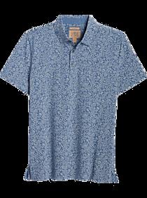 JOE Joseph Abboud Coastal Blue Floral Short Sleeve Slim Fit Polo