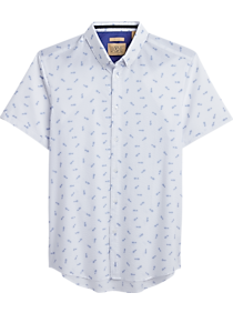 Mens Home - JOE Joseph Abboud White Pineapples Slim Fit Short Sleeve Sport Shirt - Men's Wearhouse