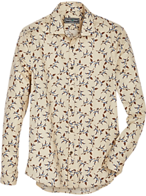 Mens Casual Shirts, Big & Tall - Paisley & Gray Slim Fit Sport Shirt, Cream Geese Print - Men's Wearhouse