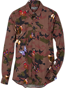 Mens Casual Shirts, Big & Tall - Paisley & Gray Slim Fit Sport Shirt, Olive Camo and Butterflies - Men's Wearhouse