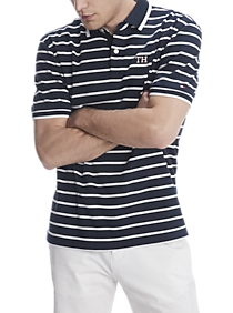 Tommy Hilfiger TH Lux Interlock Navy and White Stripe Classic Fit Polo