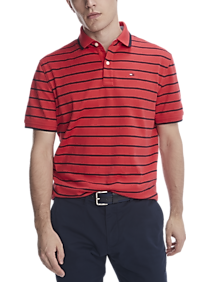 Tommy Hilfiger TH Lux Interlock Red and Navy Stripe Classic Fit Polo
