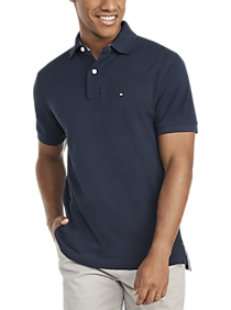 Mens Classic Fit, Shirts - Tommy Hilfiger Navy Cotton Classic Fit Polo - Men's Wearhouse