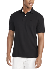 Mens Classic Fit, Shirts - Tommy Hilfiger Black Cotton Classic Fit Polo - Men's Wearhouse