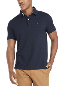 Mens Classic Fit, Shirts - Tommy Hilfiger Navy Heather Cotton Classic Fit Polo - Men's Wearhouse