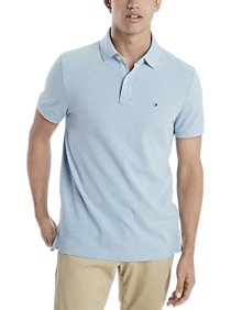 Mens Classic Fit, Shirts - Tommy Hilfiger Blue Cotton Classic Fit Polo - Men's Wearhouse