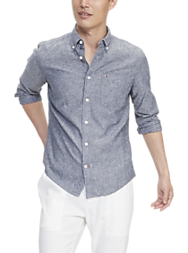Mens Modern Fit, Casual Shirts - Tommy Hilfiger Wrinkle Resistant Navy Cotton Linen Custom Fit Shirt - Men's Wearhouse