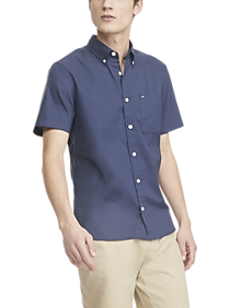 Mens - Tommy Hilfiger Navy Performance Stretch Custom Fit Short Sleeve Shirt - Men's Wearhouse