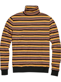 Vintage Christmas Gift Ideas Paisley  Gray Slim Fit Turtleneck Sweater Yellow Multi Stripe $54.99 AT vintagedancer.com