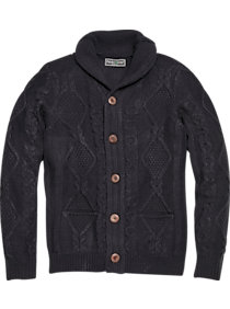 1930s Men's Fashion Guide- What Did Men Wear? Paisley  Gray Slim Fit Cable Knit Cardigan Blue $109.99 AT vintagedancer.com