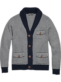 Men's Vintage Sweaters History Paisley  Gray Slim Fit Cardigan Gray  Blue Herringbone $65.99 AT vintagedancer.com