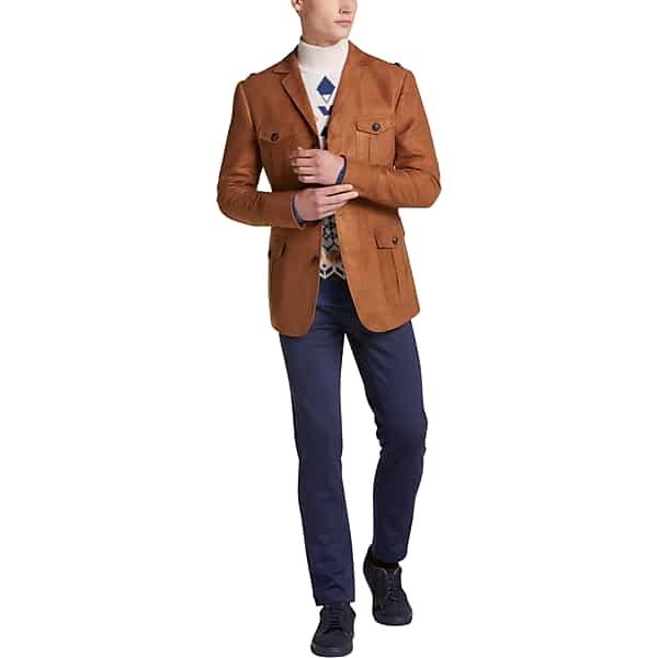 70s Jackets, Furs, Vests, Ponchos Paisley  Gray Mens Slim Fit Earnest Utility Jacket Salted Caramel - Size XXL $129.99 AT vintagedancer.com