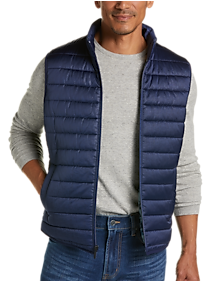 Mens Vests, Outerwear - JOE Joseph Abboud Navy Modern Fit Puffer Vest - Men's Wearhouse