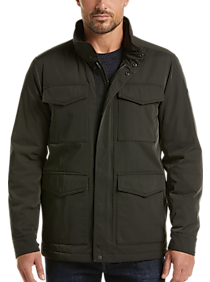 Mens Extra 30% Off Clearance, Outerwear - DKNY Charcoal Olive Military Parka - Men's Wearhouse