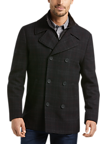 Mens Peacoats, Outerwear - JOE Burgundy Windowpane Plaid Modern Fit Peacoat - Men's Wearhouse