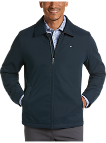 Mens Casual Jackets, Outerwear - Tommy Hilfiger Navy Modern Fit Microtwill Casual Jacket - Men's Wearhouse