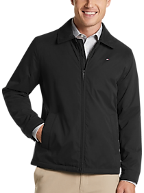 Mens Casual Jackets, Outerwear - Tommy Hilfiger Black Modern Fit Microtwill Casual Jacket - Men's Wearhouse