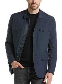 Mens Outerwear - Awearness Kenneth Cole Navy Modern Fit Casual Coat - Men's Wearhouse